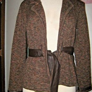 Brown Metallic Tie Leather Belt & Accents Sweater